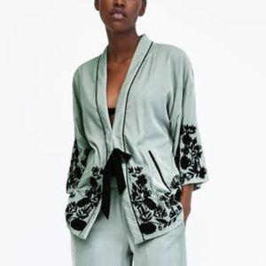 Zara Embroidered Velvet Kimono